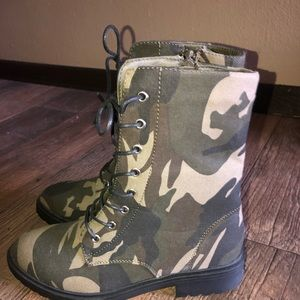 Halsey JustFab Camo Zip-Up Mid-Calf Boots